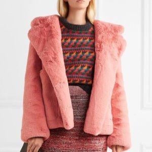 Burberry Pink Faux Fur Jacket, Size 4